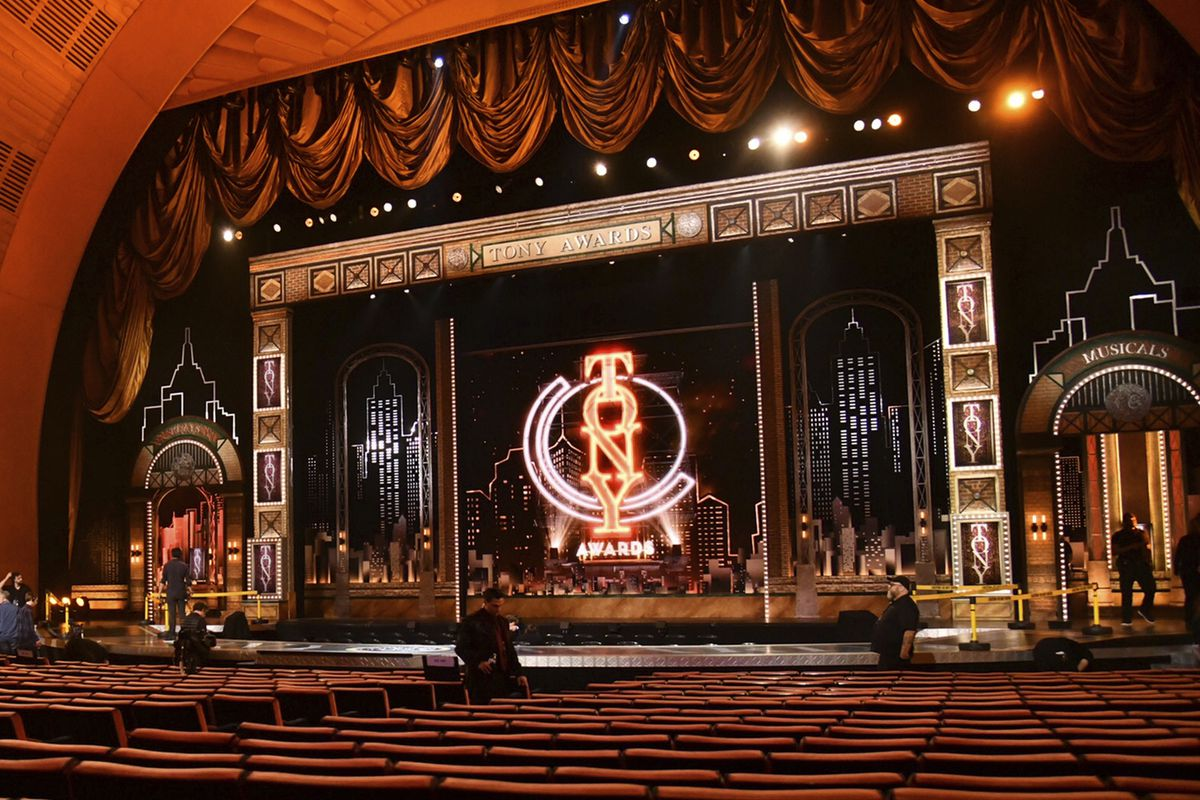 Workers prepare for the 73rd annual Tony Awards in New York in 2019.