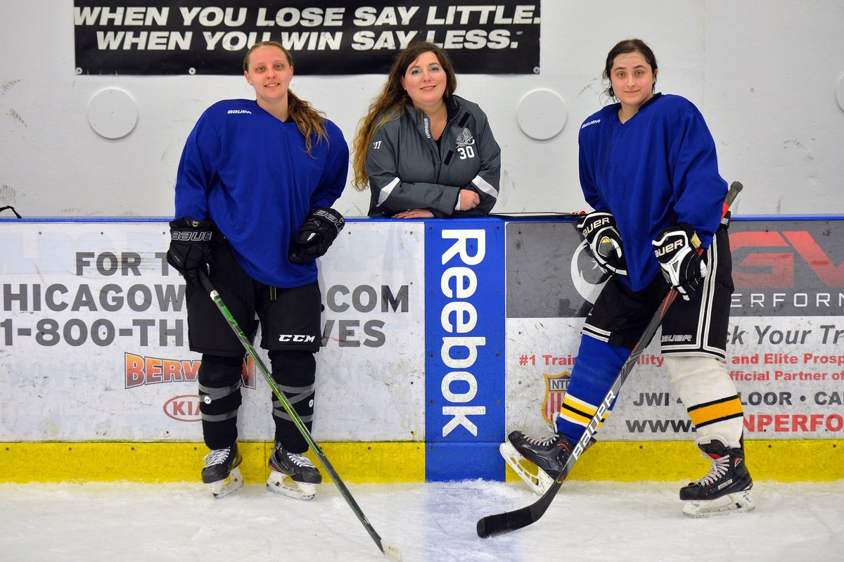 North Stars forward Jessica Howerton (from left), team president Ali Lawrence and forward and team co-founder Anna Lurie at Johnny's IceHouse West