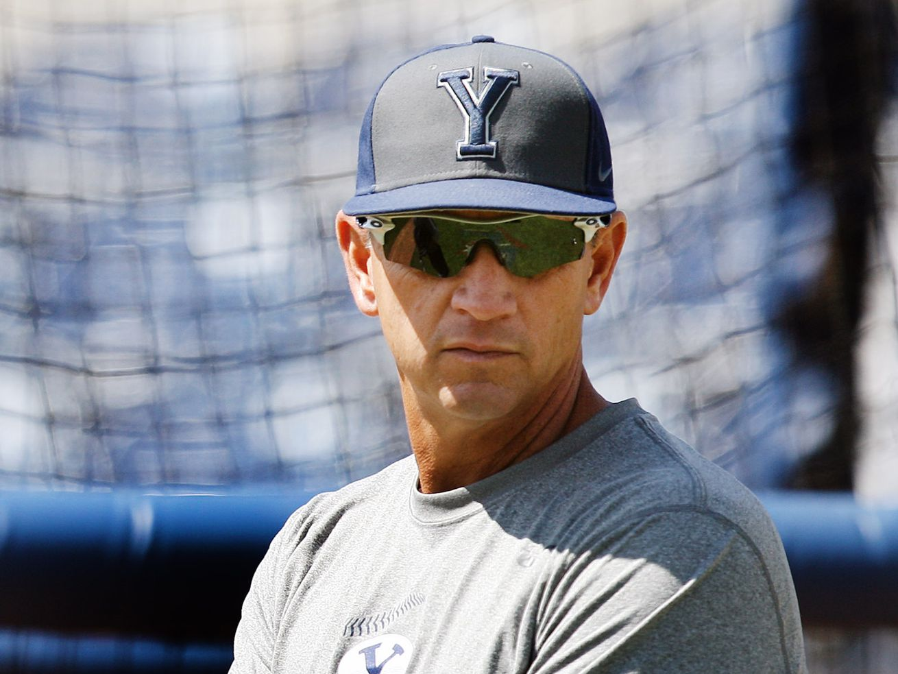BYU head baseball coach Mike Littlewood watches his players during practice in Provo Monday, May 23, 2016. The Cougars' coach since 2012 had to tell his players last Thursday that their season was canceled due to the spread of a novel coronavirus