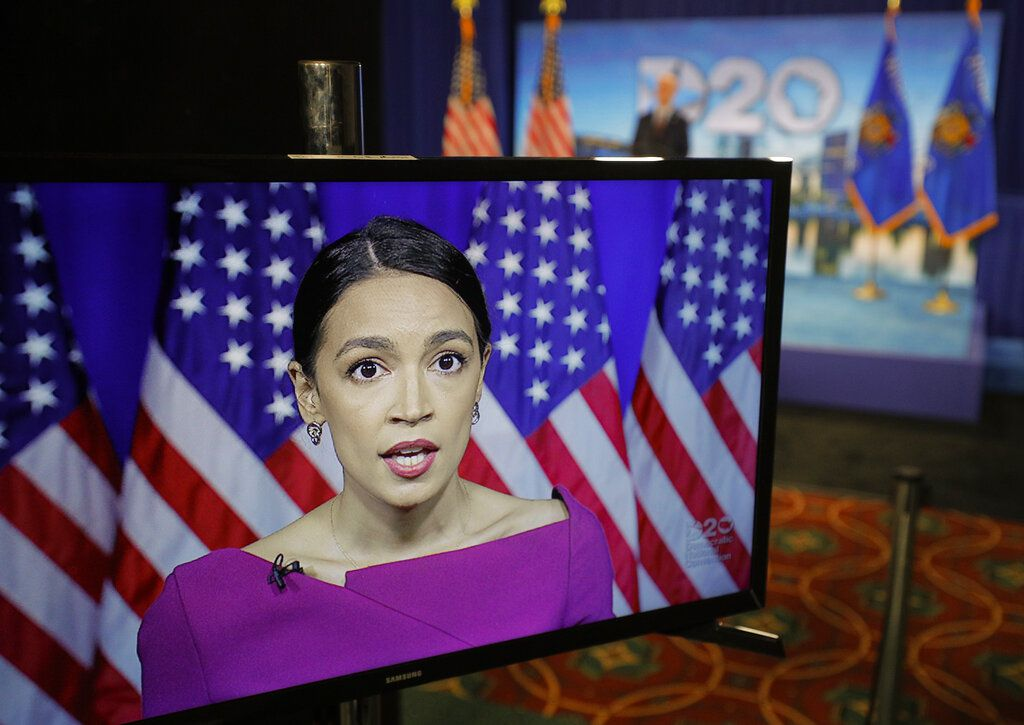 Rep. Alexandria Ocasio-Cortez, D-N.Y., seconds the nomination of Democratic presidential candidate, Sen. Bernie Sanders, I-Vt., via video feed during the second night of the virtual 2020 Democratic National Convention in Milwaukee, Wisc., Tuesday, Aug. 18, 2020.
