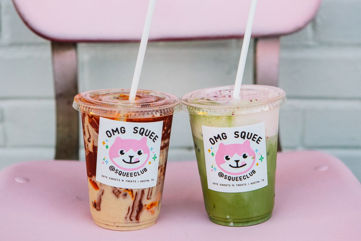 The Thai and matcha milk teas from OMG Squee