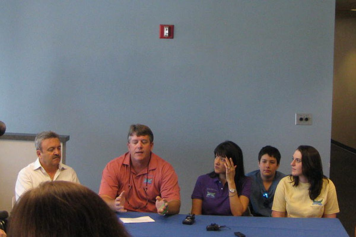 John Green and family, along with Ned Colletti, address media in Tucson before the 2012 game