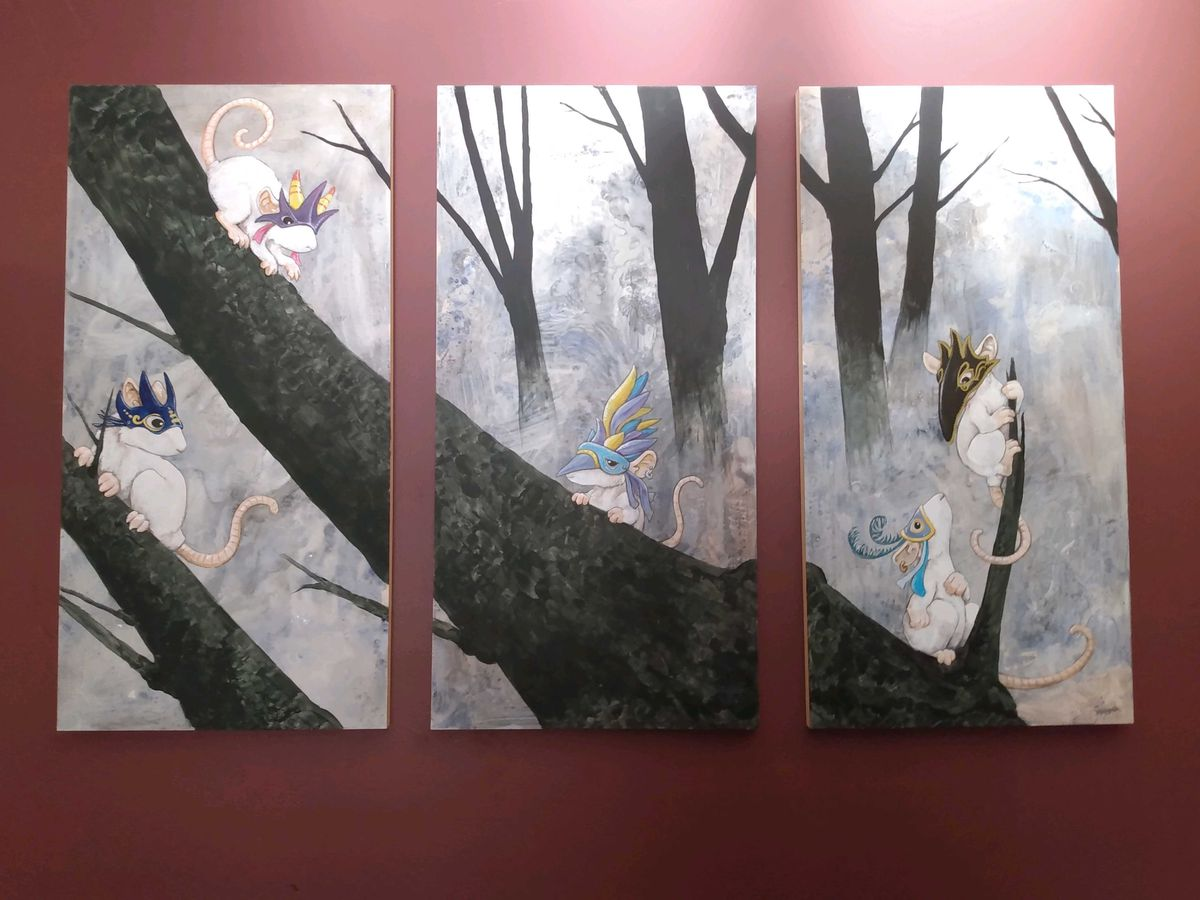 A triptych painted by author Ursula Vernon