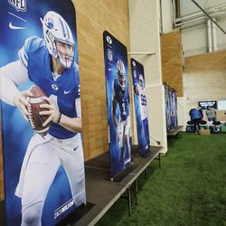 Posters are displayed during BYU pro day in Provo on Friday, March 26, 2021.