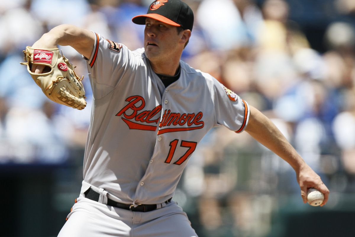 Brian Matusz didn't look like Cy Young today, but he did look like a #5 MLB starter, and that's definite progress. (Photo by Ed Zurga/Getty Images)