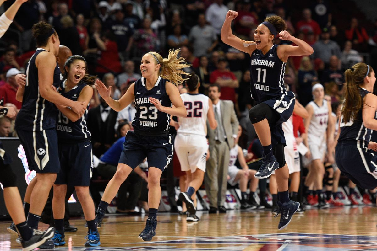 The women's basketball team celebrates BYU's additional cost of attendance stipend. Possibly.