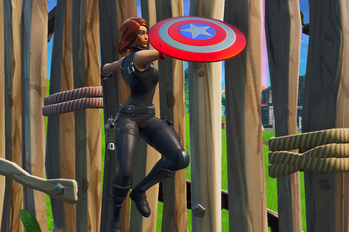 Black Widow with Captain America's shield in Fortnite