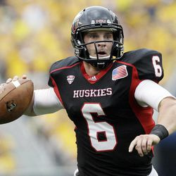 Northern Illinois quarterback Jordan Lynch (6) looks to a pass during the first half of an NCAA college football game against Iowa at Soldier Field in Chicago, Saturday, Sept. 1, 2012.