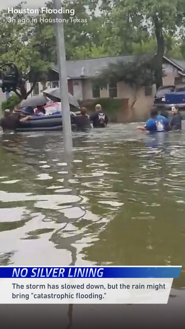 Screenshot of a Snapchat video showing flooding during Tropical Storm Harvey