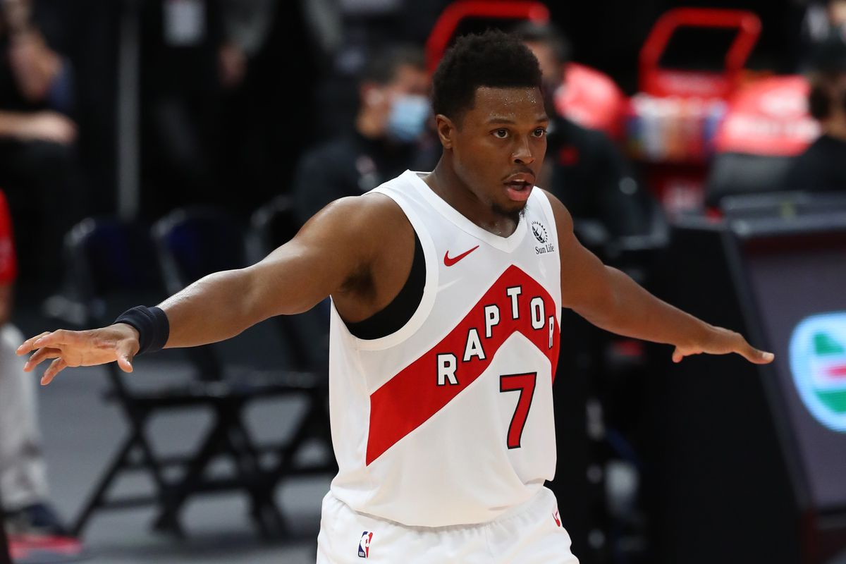 Toronto Raptors guard Kyle Lowry against the Miami Heat during the second half at Amalie Arena.