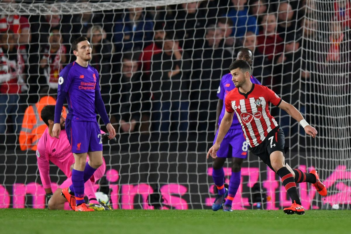 Shane Long of Southampton celebrates after scoring his team's first goal during the Premier League match between Southampton FC and Liverpool FC at St Mary's Stadium on April 05, 2019 in Southampton, United Kingdom.