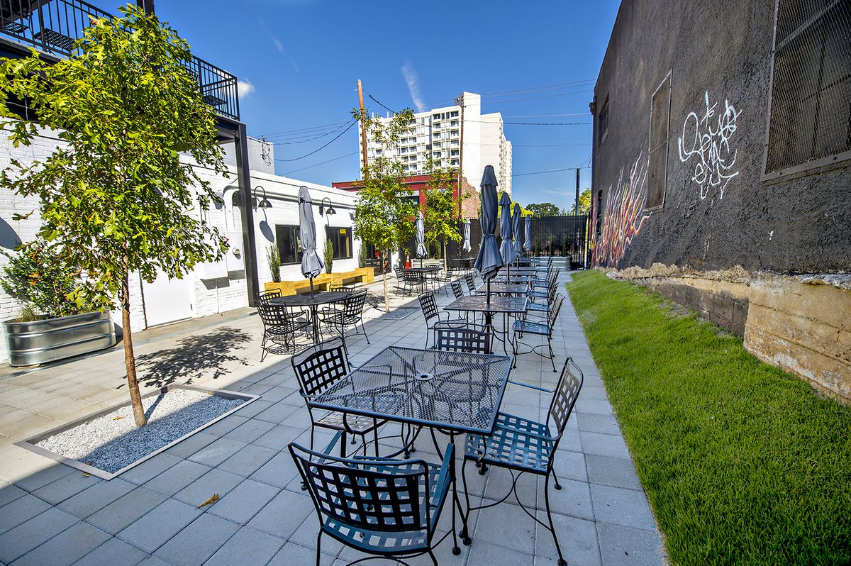 Cafe and Velo's street-level patio.