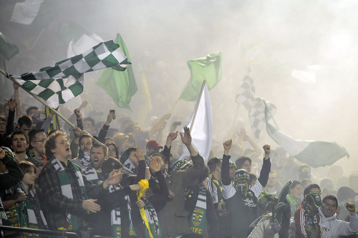 PORTLAND, OR - APRIL 30: Members of the 'Timbers Army' celebrate after the game between the Portland Timbers and Real Salt Lake at Jeld-Wen Field on April 30, 2011 in Portland, Oregon. The Timbers won the game 1-0. (Photo by Steve Dykes/Getty Images)
