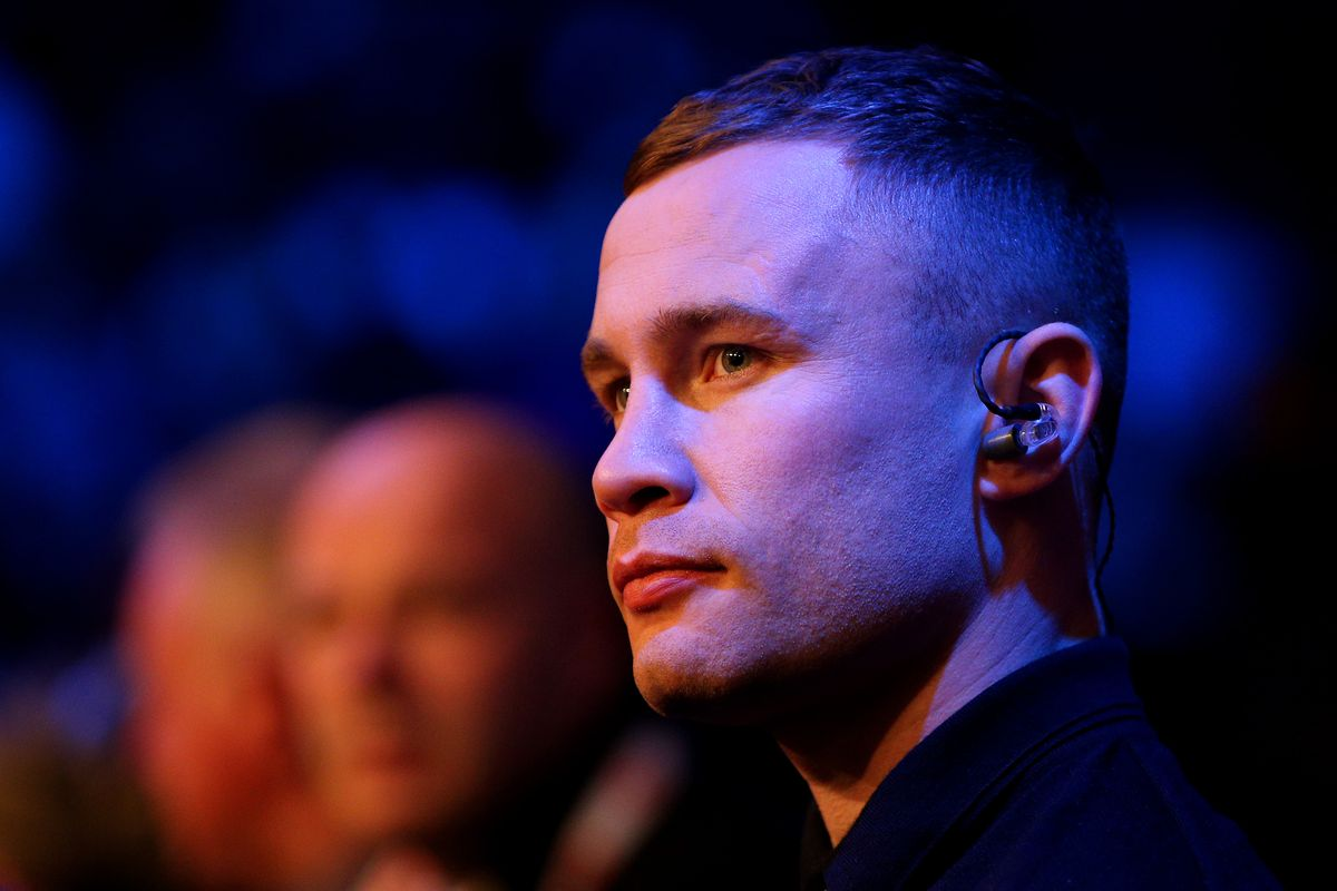 Boxer Carl Frampton is seen ringside during the English Light-Heavy Title Fight between Dan Azeez and Lawrence Osueke at The Brentwood Centre on December 14, 2019 in Brentwood, England.