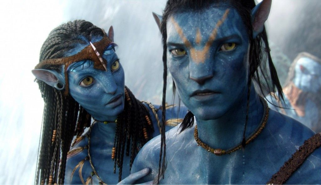 """Neytiri, voiced by Zoe Saldana, and the character Jake, voiced by Sam Worthington are shown in a scene from, """"Avatar."""" (AP Photo/20th Century Fox)"""