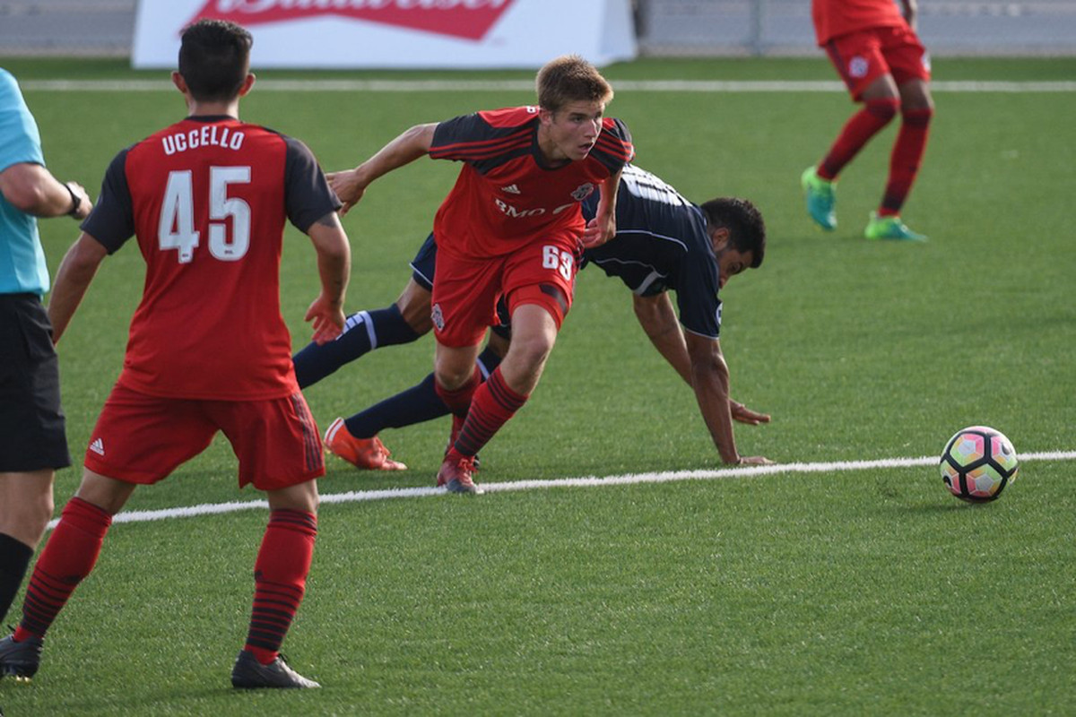 USL Photo - TFC II's Fraser and Uccello focus on the ball against the Harrisburg City Islanders at the Ontario Soccer Centre