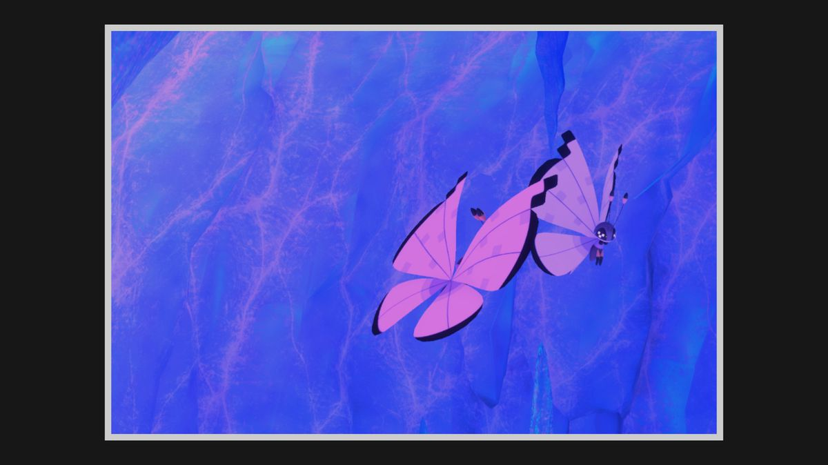 Two Icy Snow Vivillon fly in a cave
