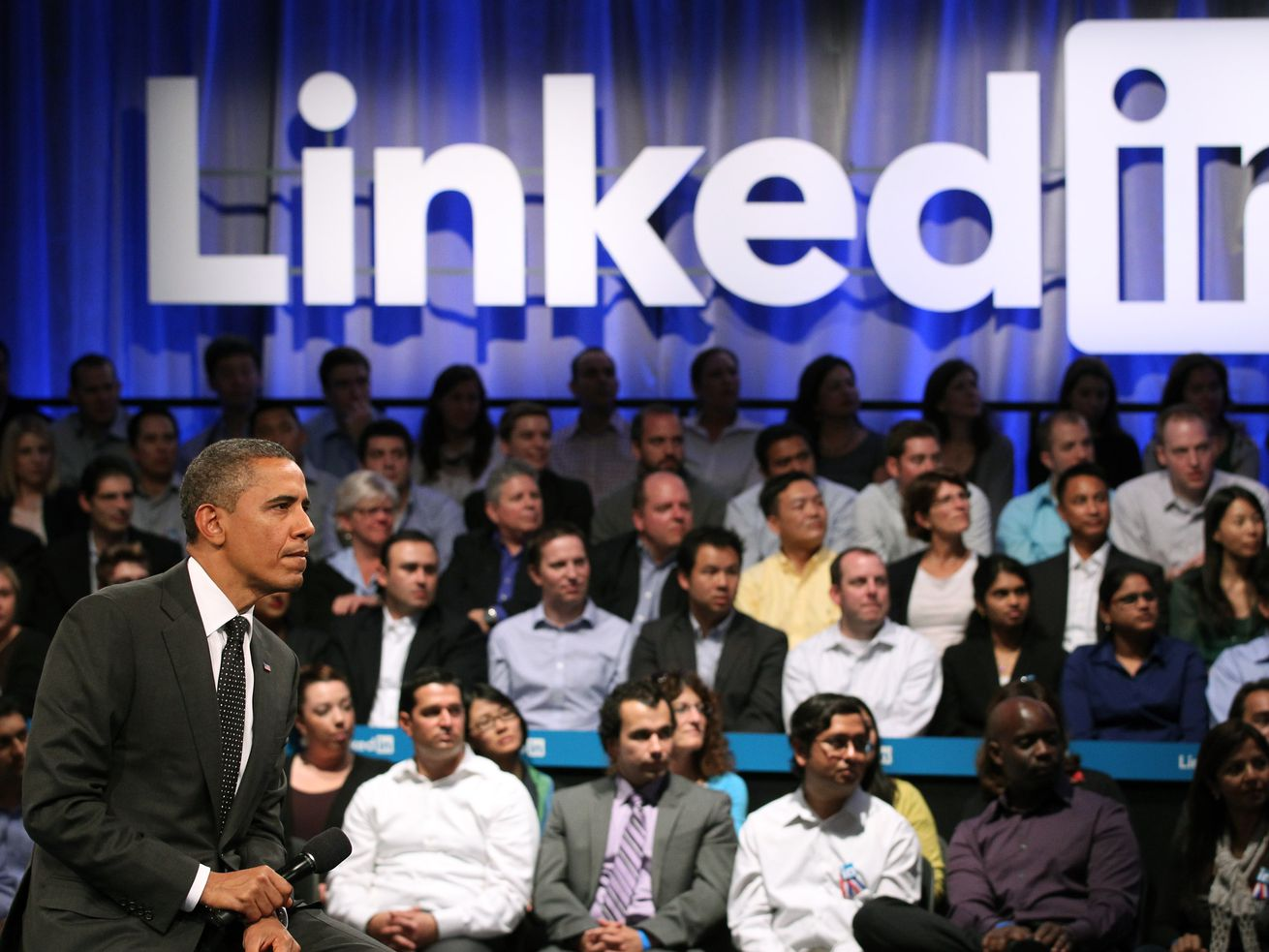 Barack Obama participating in a Linkedin Town Hall.