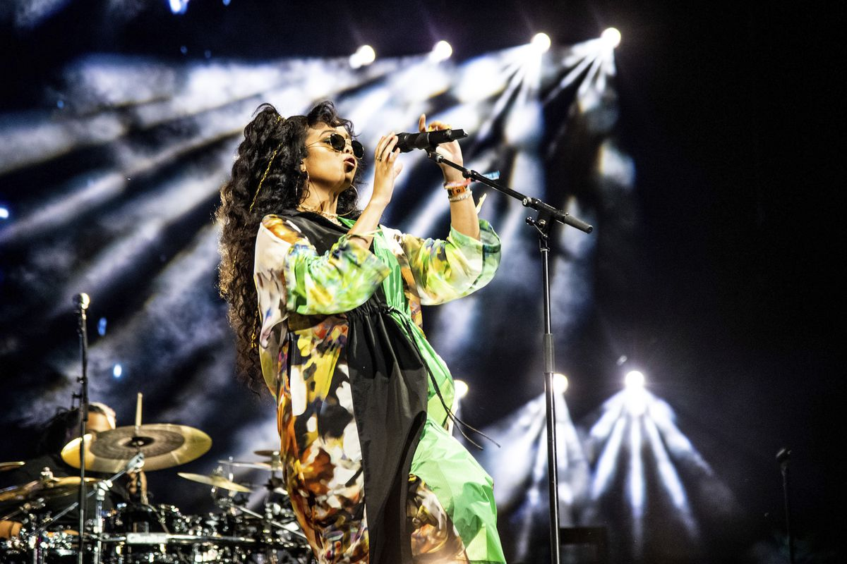 H.E.R. is part of the Essence Festival, marking 25 years of celebrating black excellence in business, fashion. Here she's seen performing April 14 at the Coachella Music & Arts Festival at the Empire Polo Club in Indio, California.
