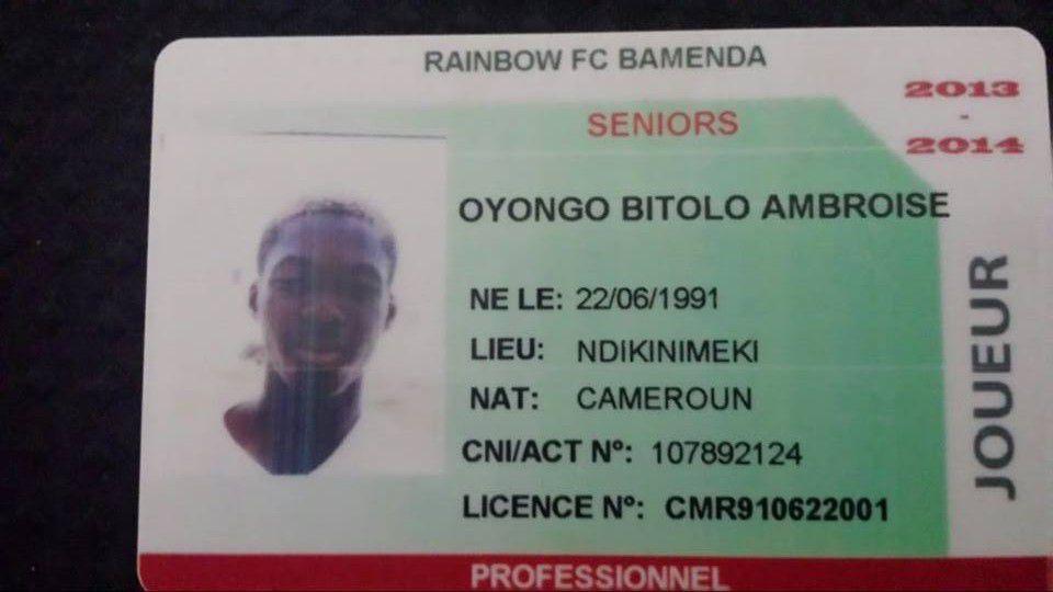 Oyongo Registration Card Front