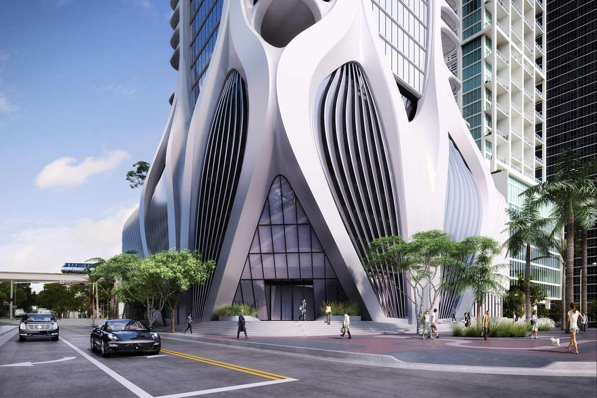 A rendering of One Thousand Museum in downtown Miami