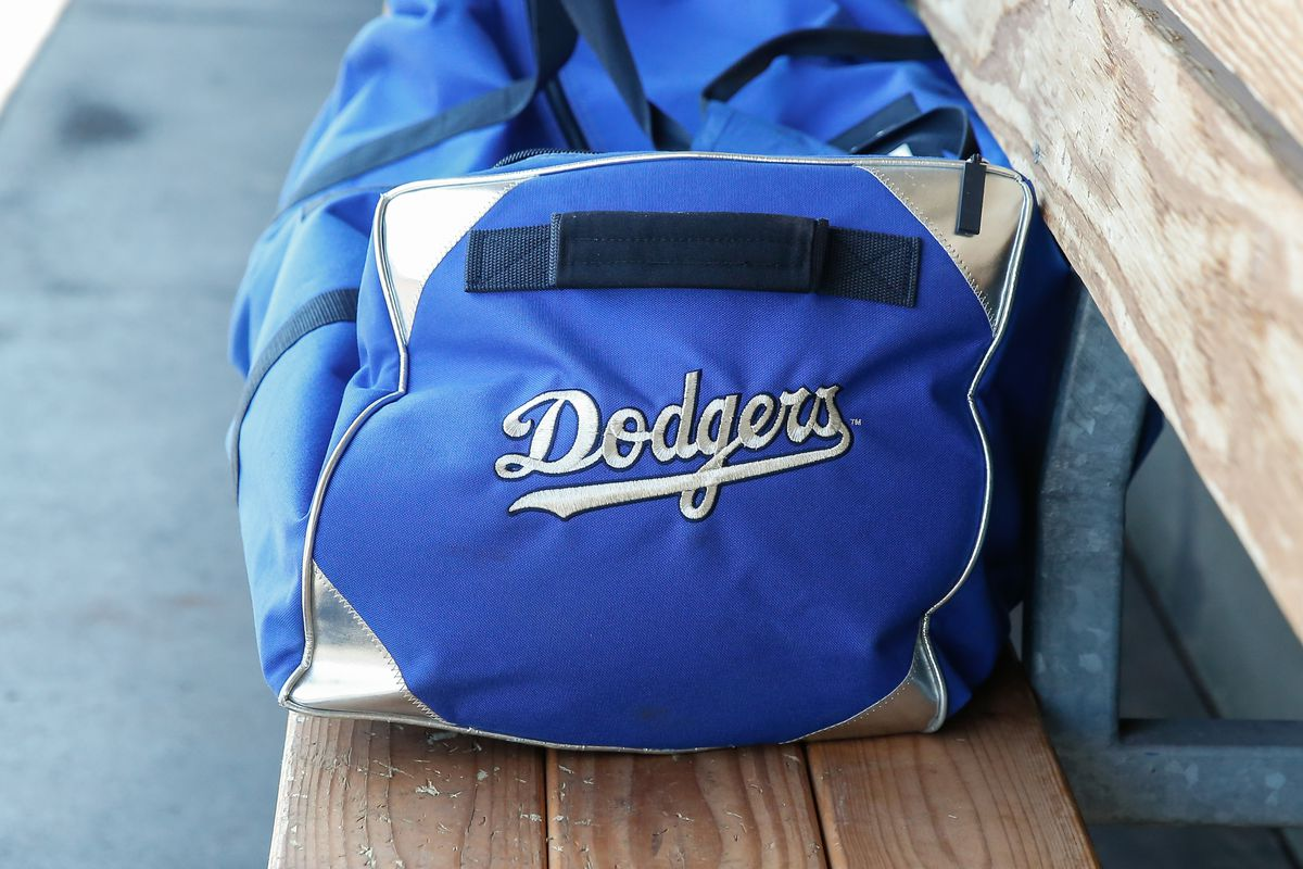 The Los Angeles Dodgers logo on a bag before the spring training MLB baseball game between the Los Angeles Dodgers and the Texas Rangers on March 8, 2020 at Surprise Stadium in Surprise, Arizona.