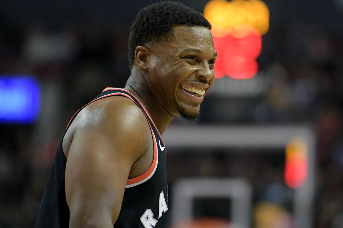 Toronto Raptors guard Kyle Lowry reacts to comments from the Sacramento Kings bench in the first half at Scotiabank Arena.