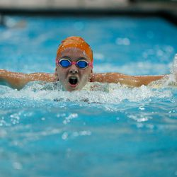 Evanston's Erin Long works on her stroke during practice on August 19, 2020.