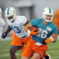 Jun 11, 2013; Davie, FL, USA; Miami Dolphins tight end Kyle Miller (left) eludes Jelani Jenkins (right) during practice drills  at the Doctors Hospital Training Facility at Nova Southeastern University.