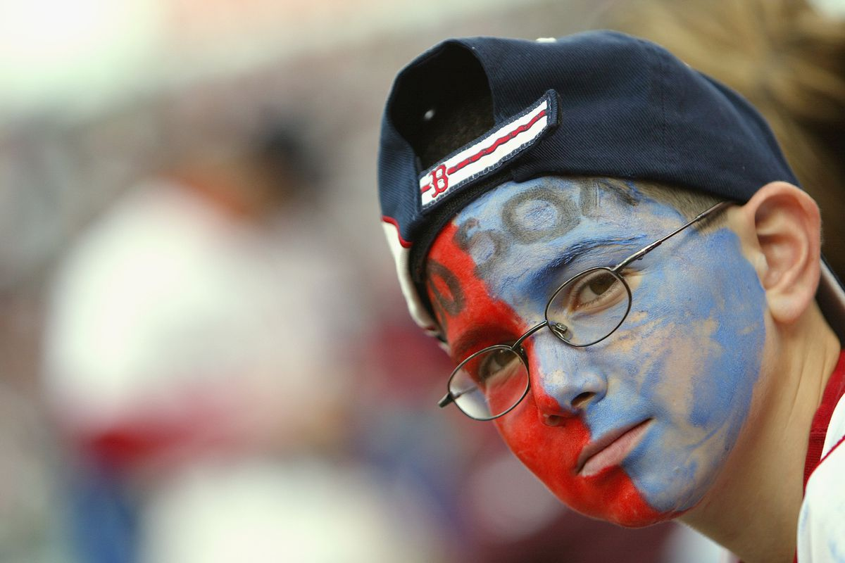 Red Sox fan with face paint