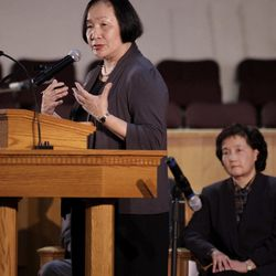 Oakland Mayor Jean Quan speaks during a memorial service at the Allen Temple Baptist Church Tuesday, April 3, 2012, in Oakland, Calif. Several hundred people gathered Tuesday night for a prayer vigil for the victims of Monday's shooting at Oikos University, a small Christian school in Oakland.