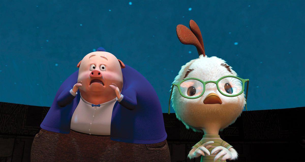 """Runt of the Litter (voice of Steve Zahn) and Chicken Little (Zach Braff) in Disney's """"Chicken Little."""""""