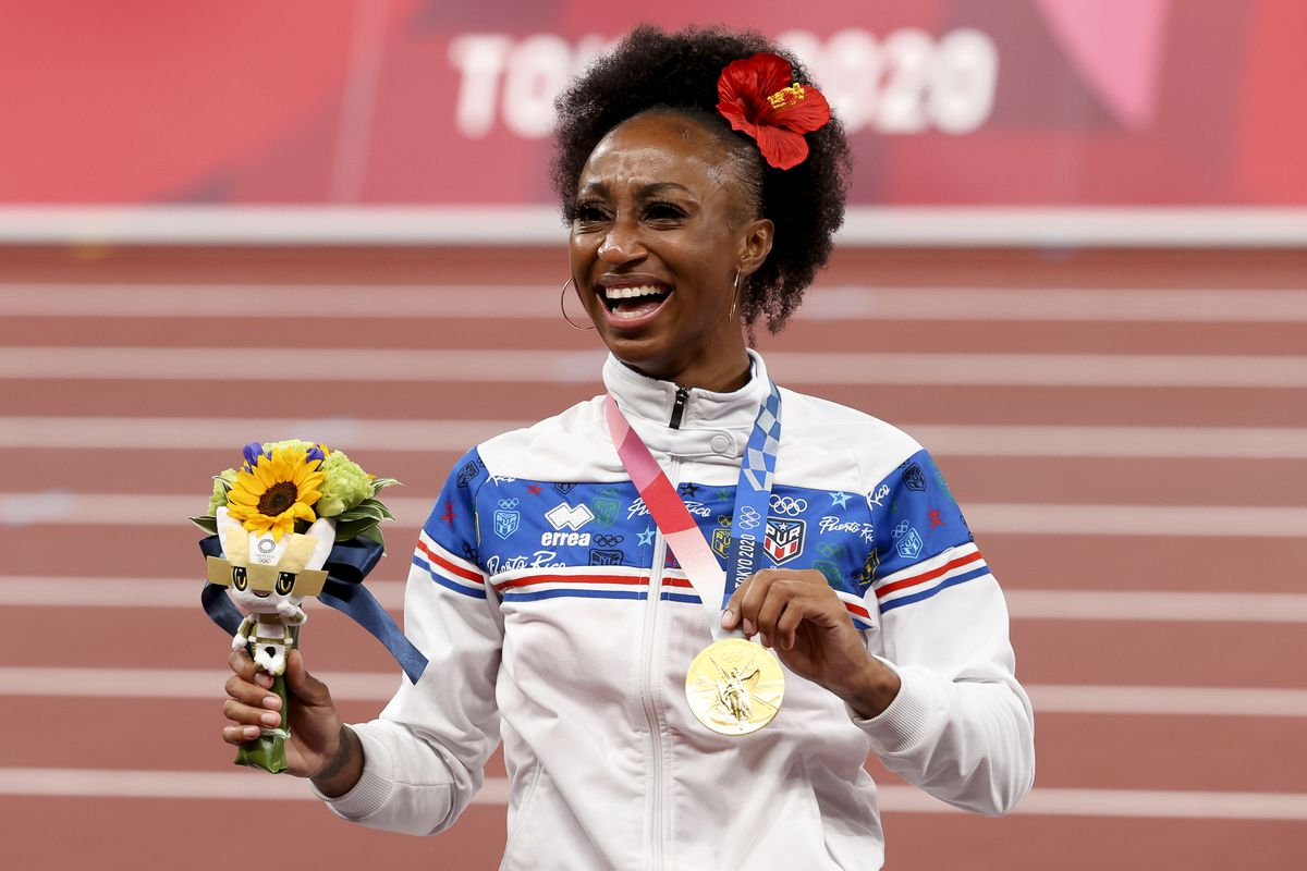 Gold Medalist Jasmine Camacho-Quinn of Puerto Rico during the medal ceremony of the Women's 100m Hurdles on day ten of the athletics events of the Tokyo 2020 Olympic Games at Olympic Stadium on August 2, 2021 in Tokyo, Japan.