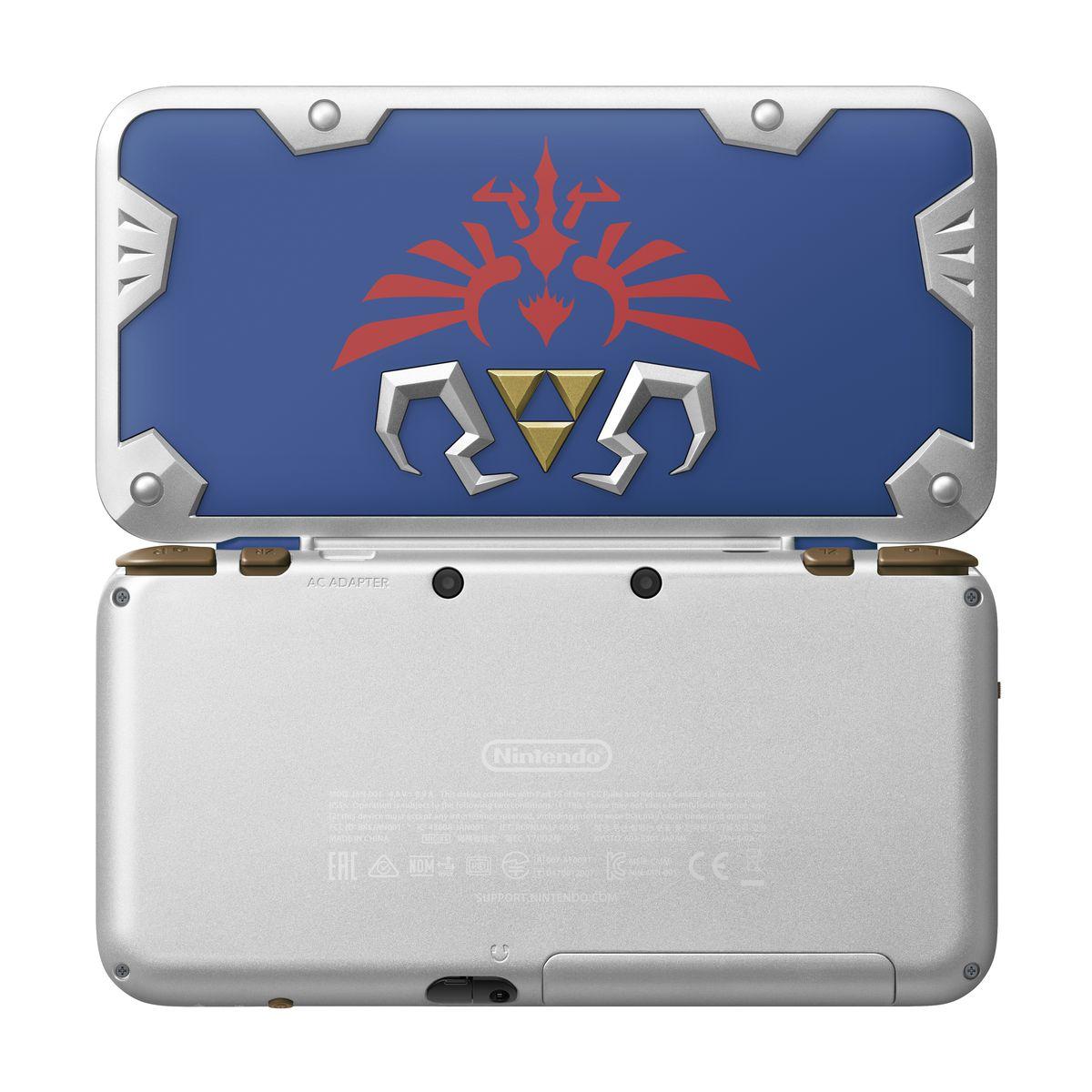 New Nintendo 2DS XL Hylian Shield Edition - view of top and bottom of case
