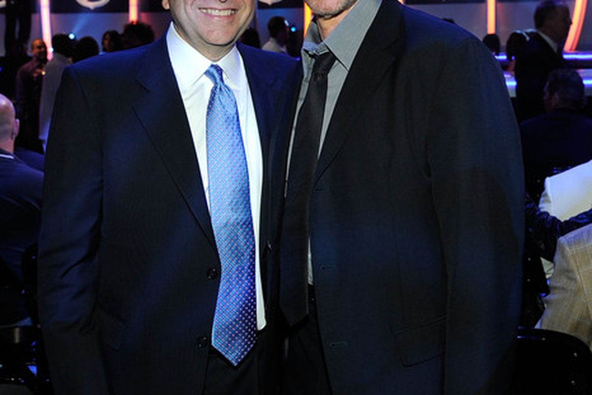 LAS VEGAS - JUNE 23:  NHL Commissioner Gary Bettman and producer Jerry Bruckheimer pose during the 2010 NHL Awards at the Palms Casino Resort on June 23, 2010 in Las Vegas, Nevada.  (Photo by Ethan Miller/Getty Images for NHLI)