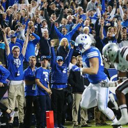 BYU fans go crazy as Brigham Young Cougars tight end Tanner Balderree (89) runs in for the go-ahead touchdown as BYU and Mississippi State play in Provo at LaVell Edwards Stadium on Friday, Oct. 14, 2016.