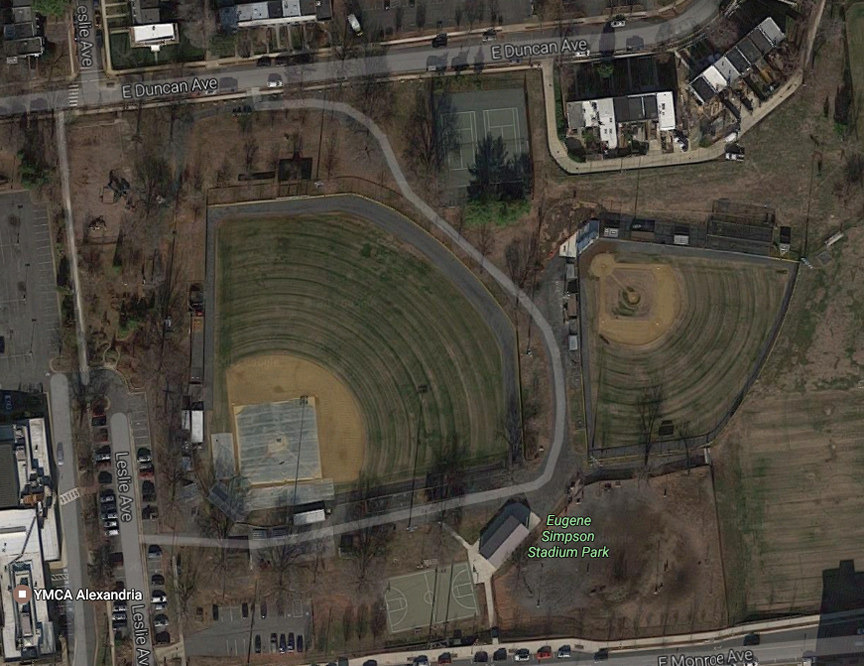 This aerial view shows the baseball field where the shooting occurred, and the YMCA where the suspect, James Hodgkinson, apparently had been working out in the mornings for the past several weeks.   Google Maps