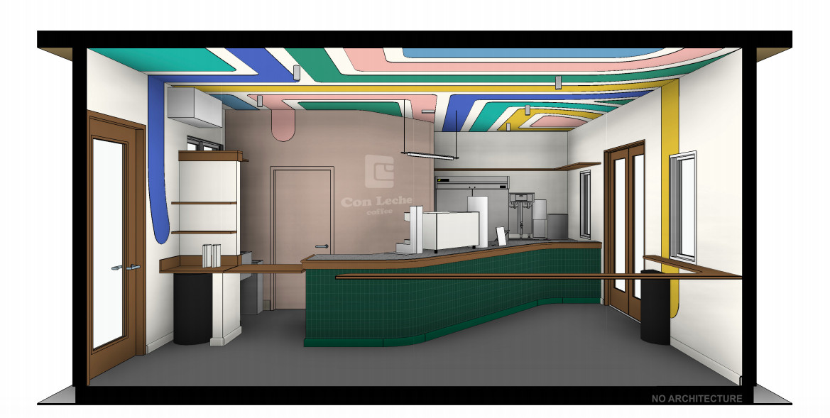 Rendering of Con Leche coffee bar opening October 2020 in Reynoldstown, Atlanta