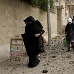 An Iraqi woman carries a bird as she flees heavy fighting in the Yarmouk district of western Mosul, Iraq, Tuesday, April 11, 2017.