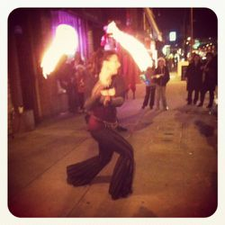 The aforementioned flame-thrower surprised foot traffic with an impromptu fire dance.