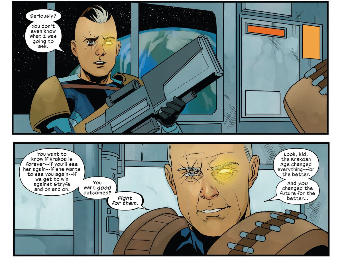 """Older Cable warns his younger self not to ask whether things turn out ok. """"You want good outcomes?"""" he says, """"Fight for them."""" in Cable #12 (2021)."""