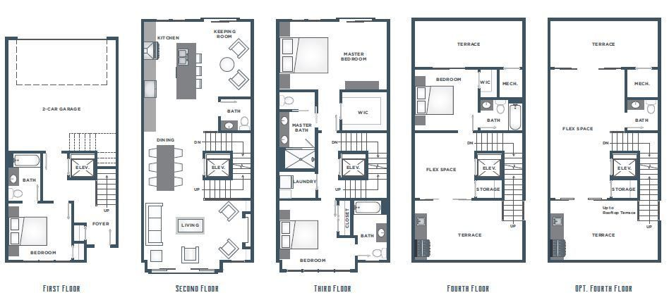 A floorplan with a four story townhome.