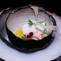 """Ceviche is a must when you're in Miami, and Alinea's featured Key West pink shrimp and local cobia, topped with citrus infused tapioca pearls, fried yucca chip, tiger's milk, """"Ocean Surf Foam"""" that's all surrounded by citrus smoke."""