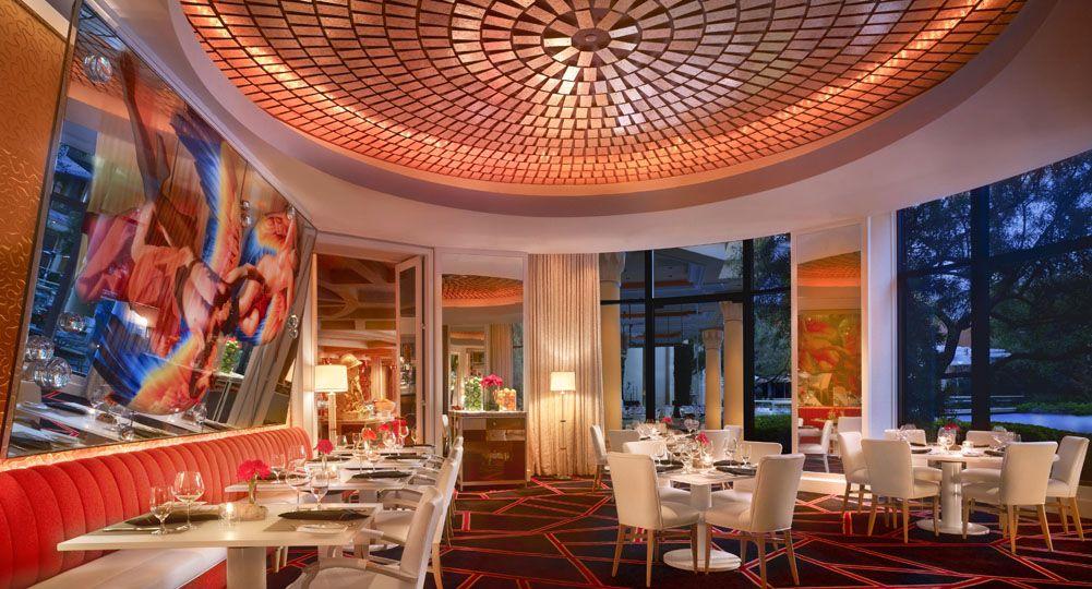 Red and orange restaurant interior