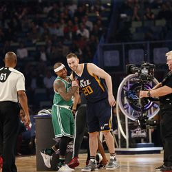 Isaiah Thomas of the Boston Celtics (4) shakes hands with Gordon Hayward of the Utah Jazz (20) after competing in the skills competition during NBA All-Star Saturday Night events in New Orleans Saturday, Feb. 18, 2017.