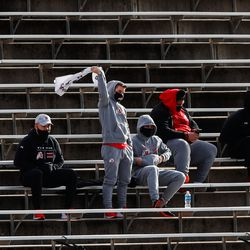 Family and friends of Utah Utes cheers for the team during an NCAA football game against Washington State Cougars at Rice-Eccles Stadium in Salt Lake City on Saturday, Dec. 19, 2020.