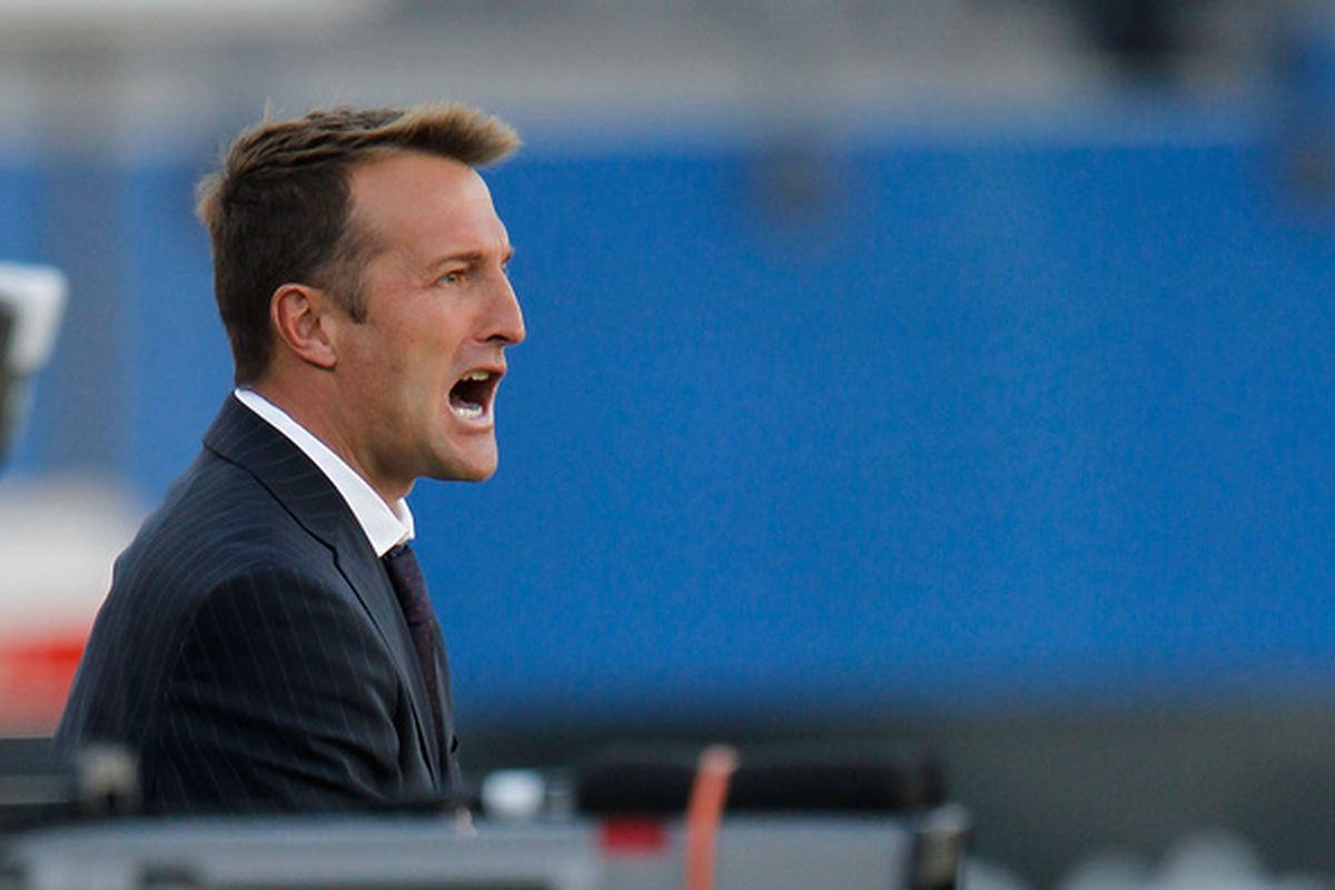 FRISCO TX - OCTOBER 30:  Head coach Jason Kreis of Real Salt Lake leads his team against FC Dallas at Pizza Hut Park on October 30 2010 in Frisco Texas.  FC Dallas beat Real Salt Lake 2-1. (Photo by Tom Pennington/Getty Images)