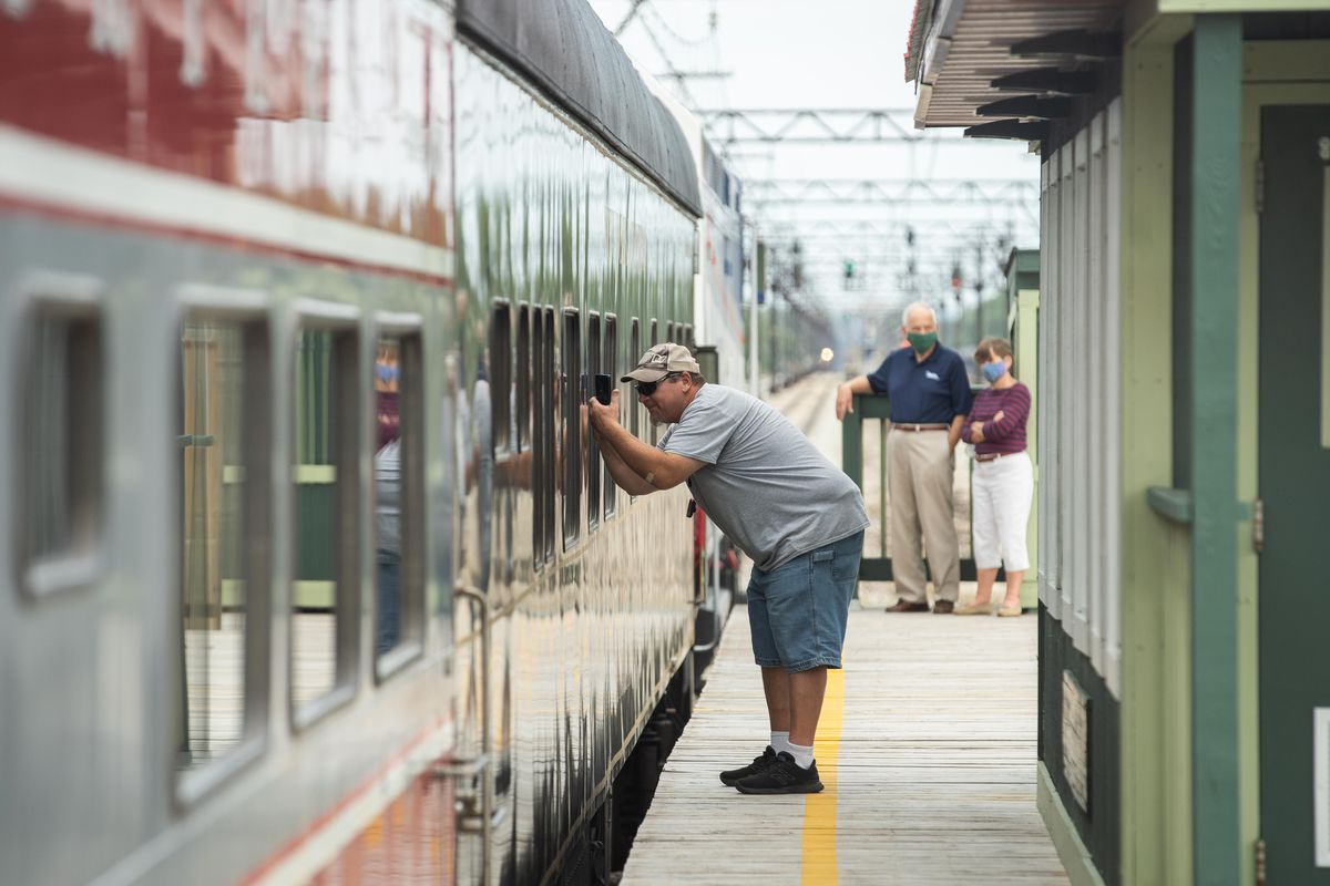 Former Pullman resident Richard Roberts takes pictures of a railroad sleeping car that was manufactured by the Pullman Palace Car Company a day before the grand opening of the Pullman National Monument Visitor Center and Pullman State Historic Site Factory Grounds in the Pullman neighborhood, Friday morning, Sept. 3, 2021. | Pat Nabong/Sun-Times