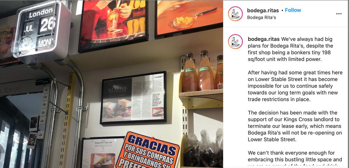A screengrab of the Bodega Rita's closure announcement on Instagram