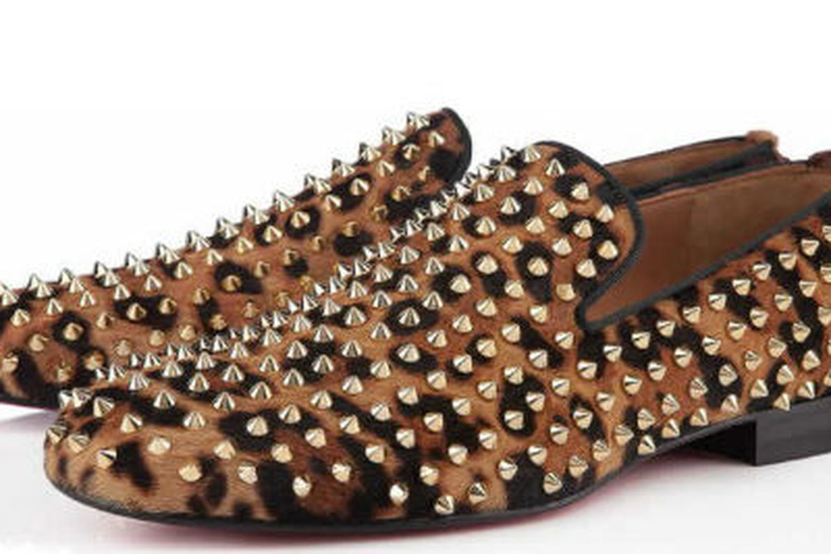 """Louboutin's <a href=""""http://us.christianlouboutin.com/us_en/shop-online-3/men/rollerboy-spike-printed-pony.html"""">Rollerboy Spikes</a> shoes"""